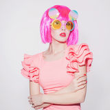 Beauty girl with pink hair Stock Photo