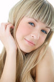 Beauty girl portrait. On white background royalty free stock image