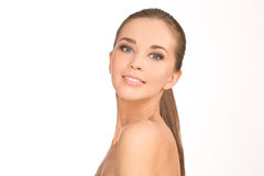 Beauty Girl Portrait. Beautiful Young Happy Smiling Woman Stock Photography