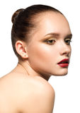 Beauty Girl. Portrait of Beautiful Young Woman with perfect make Royalty Free Stock Images