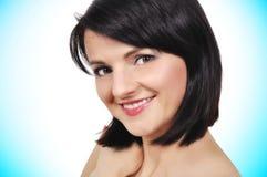 Beauty girl. Portrait of beauty girl on a blue background Stock Photos