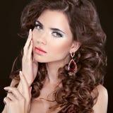 Beauty girl portrait brunette girl model with care skin, profess Stock Photography