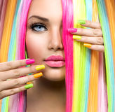 Beauty Girl Portrait with Colorful Makeup. Hair and Nail polish royalty free stock photography