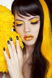 Beauty Girl Portrait with Colorful Makeup, Long Hair, Nail polis Royalty Free Stock Images