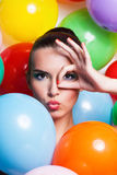 Beauty Girl Portrait with Colorful Makeup, Royalty Free Stock Images