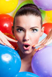 Beauty Girl Portrait with Colorful Makeup, Nail polish and Accessories. Colourful Studio Shot of Funny Woman. Vivid Colors. Royalty Free Stock Photos