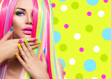 Beauty girl portrait with colorful nails, hair and makeup. Beauty girl portrait with colorful makeup, hair and nail polish Royalty Free Stock Photos