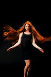 Beauty Girl Portrait. Healthy Long Red Hair. Beautiful Young Woman royalty free stock photography