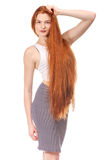 Beauty Girl Portrait. Healthy Long Red Hair. Royalty Free Stock Photo