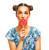Beauty Girl Portrait holding Colorful lollipop Stock Images