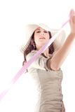 Beauty girl portrait with pink ribbon Stock Images