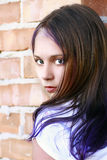 Beauty girl portrait with purple hairs royalty free stock photos
