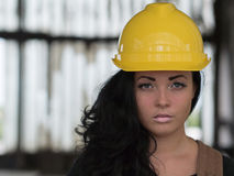 Beauty girl with protection hat Royalty Free Stock Photo
