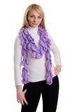 Beauty girl in purple scarf. Stock Images