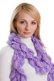 Beauty girl in purple scarf. Royalty Free Stock Photos
