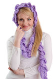 Beauty girl in purple scarf. Stock Photography