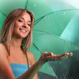 Beauty girl in rain Stock Photography