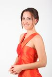 Beauty girl in red dress Royalty Free Stock Image