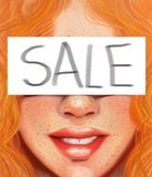Girl with red hair and freckles with the inscription sold in the style of oil painting Stock Photography