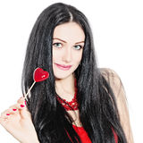 Beauty Girl and Red Heart Royalty Free Stock Photos