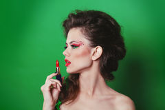 Beauty Girl with red lipstick. Fashion Art Woman Stock Image