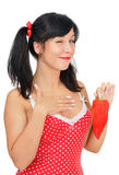 Beauty girl with red pepper Stock Photos
