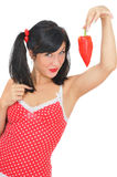 Beauty girl with red pepper Royalty Free Stock Image