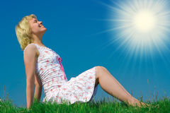 Beauty girl relax pn grass meadow Stock Photos