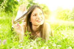 Beauty girl relaxing in nature Stock Photo