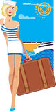Beauty girl on resort, woman with suitcase on background sky and sea, travel poster Stock Photography