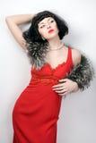 Beauty girl in retro dress Stock Photo