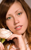 Beauty girl with rose. Royalty Free Stock Photos