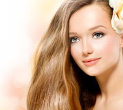Beauty Girl with Rose Stock Images