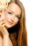 Beauty Girl with Rose Stock Image