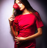 Beauty girl with rose Royalty Free Stock Images