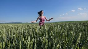 Beauty girl running on green wheat field. Freedom concept. Happy woman outdoors Stock Images