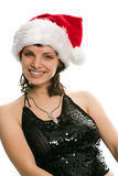 Beauty girl in santa red cap Stock Images