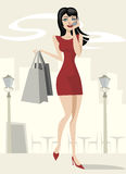 Beauty girl shopping Stock Photography