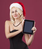 Beauty girl with show tablet PC royalty free stock photos