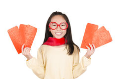 Beauty girl showing red envelope Stock Image