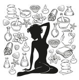 Beauty girl. Silhouette and items for spa treatments royalty free illustration