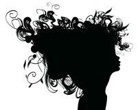 Beauty girl silhouette with rose Stock Images