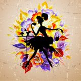 Beauty girl silhouette with rose. Vector illustration Stock Photo