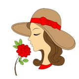 Beauty girl silhouette with rose. Vintage vector illustration royalty free illustration