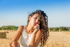 Beauty, Girl, Sky, Grass Family Royalty Free Stock Images