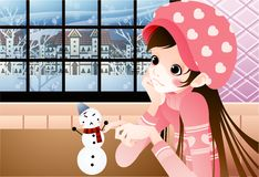 BEAUTY GIRL and SMALL SNOWMAN Royalty Free Stock Photos
