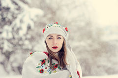 A beauty girl on the snow winter background Royalty Free Stock Images
