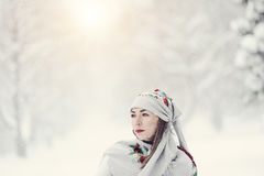 A beauty girl on the snow winter background Stock Images