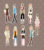 Beauty girl stickers. Cute cartoon vector illusttration Royalty Free Stock Photos