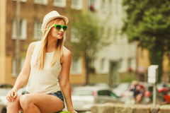Beauty girl in summer time. Royalty Free Stock Images